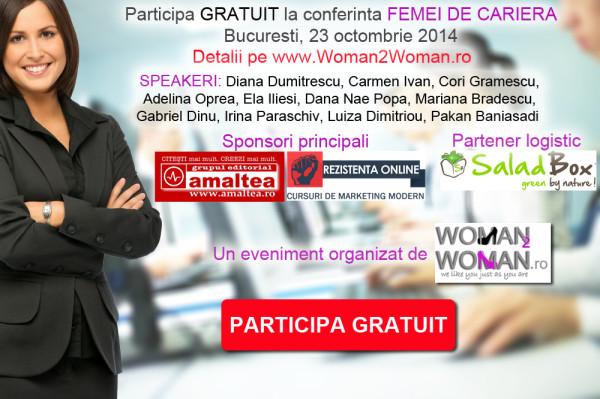 """Participa GRATUIT la a doua editie a conferintei """"Femei de cariera"""""""