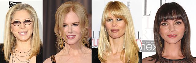 coafura par mediu Barbara Streisand, Nicole Kidman, Claudia Schiffer, Christina Ricci