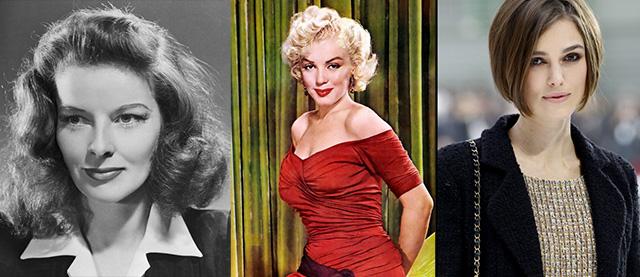 Katharine Hepburn, Marlyn Monroe, Keira Knightley